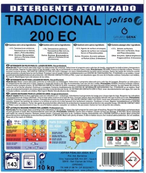 SACO DE 10 Kg. DETERGENTE LAVADORA EN POLVO TRADICIONAL 200 ECO