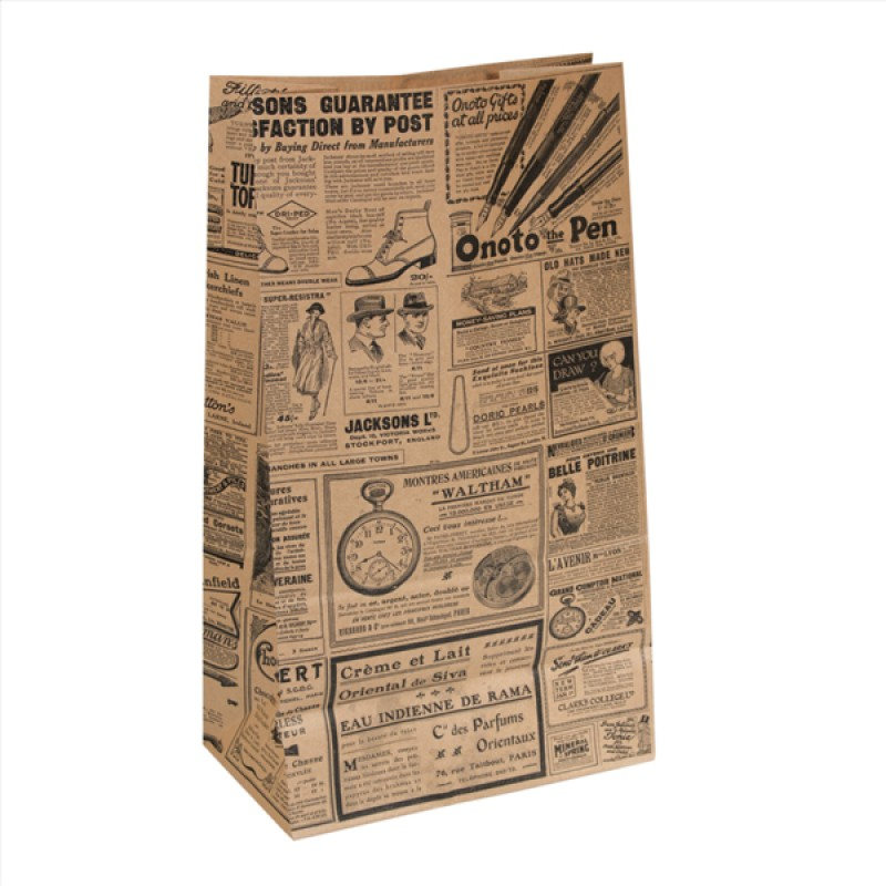 BOLSAS DE PAPEL DECORADO TIMES 43,5X25+15 (222.47) caja de 250 unidades