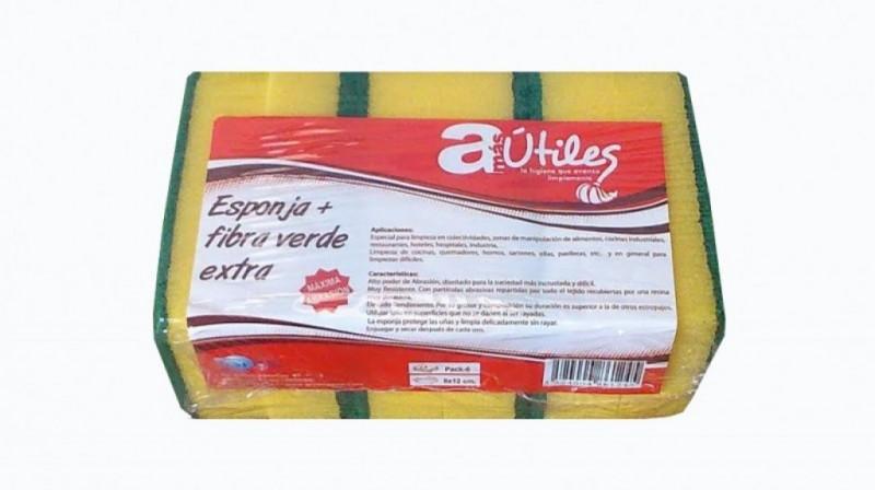 ESTROPAJO FIBRA VERDE CON ESPONJA RESSOL. Paquete de 6 unidades.