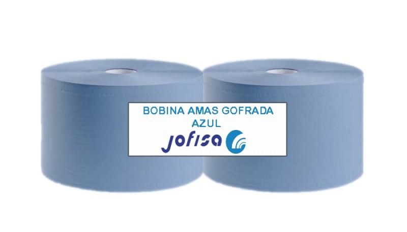BOBINA INDUSTRIAL  2 CAPAS AZUL GOFRADA. Paquete de 2 unidades.