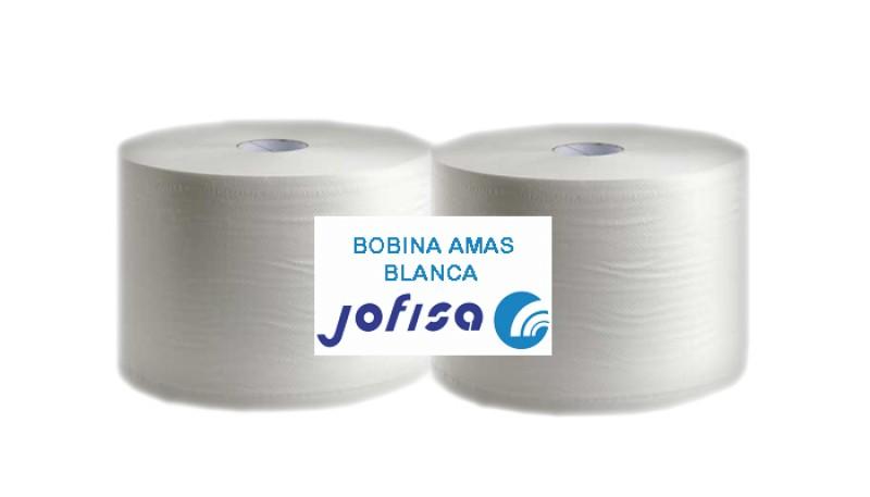 BOBINA INDUSTRIAL 2 CAPAS BLANCA LISA. Paquete de 2 unidades.