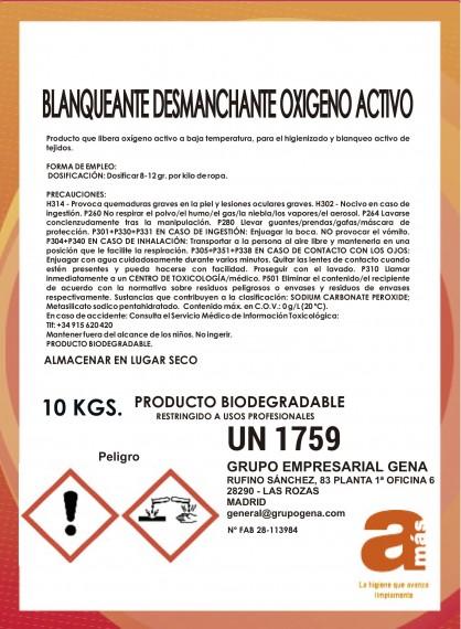 BLANQUEANTE ROPA COLOR AMAS CUBO DE 10Kg OXIGENO