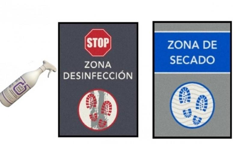 PACK DE 2 ALFOMBRAS ZONA DESINFECCION Y ZONA SECADO 60x85cm