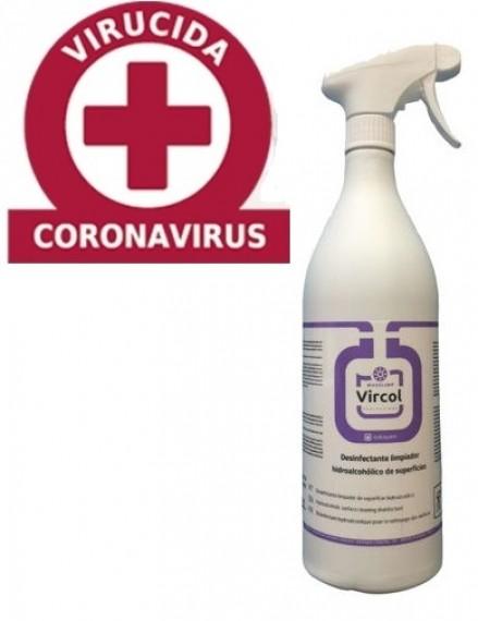VIRCOL DESINFECTANTE VIRUCIDA HIDROALCOHOLICO. Botella de 1 litro